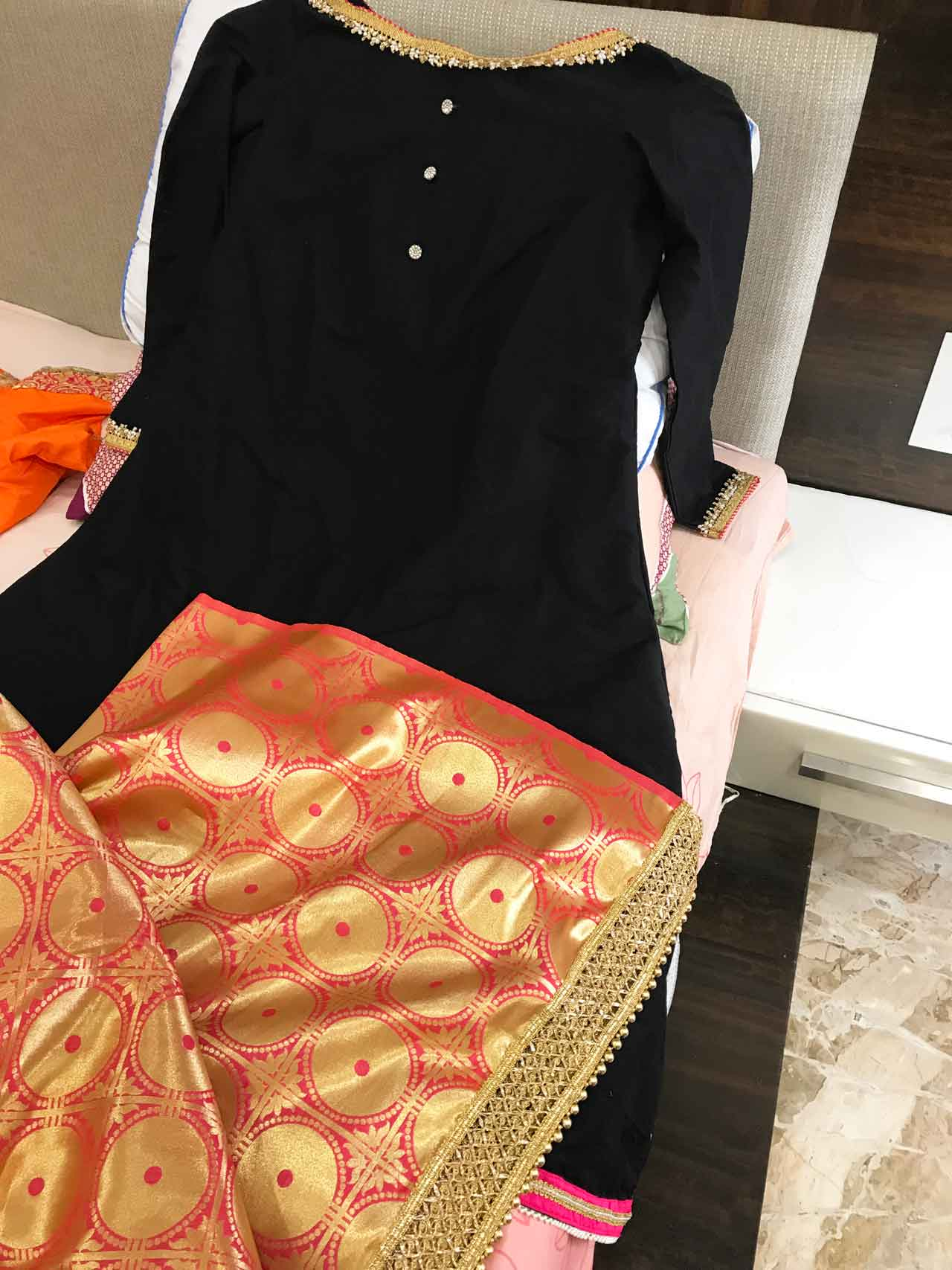 A Pearl Embellished Silk A-line Dress with Banaras Dupatta