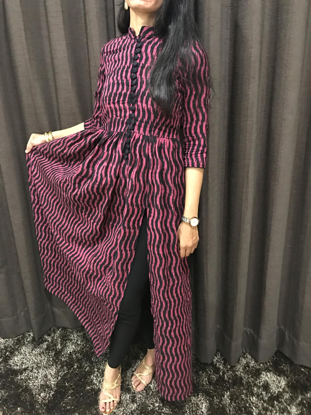 A Maxi Dress in Ikkat with Loop Buttons