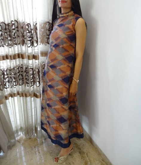 An A-line Anarkali Dress in Handwoven Ikkat Silk