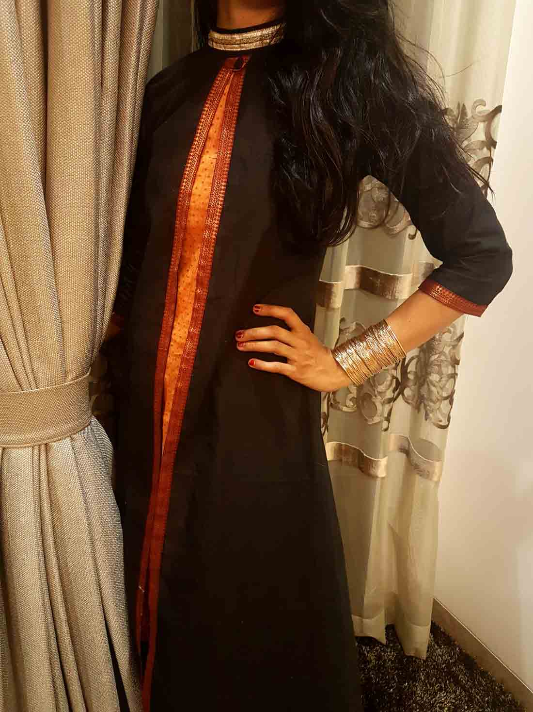 A Handwoven plain and printed Mangalgiri Kurti in Mughal Choga styling