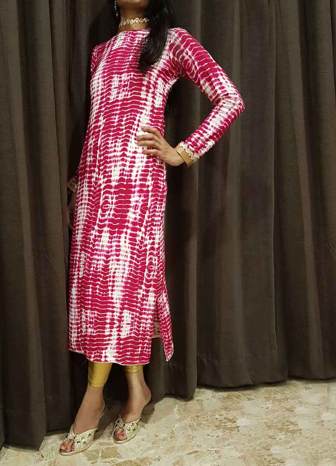 A Lehariya Shibori Long Kurti with Turtle Neck