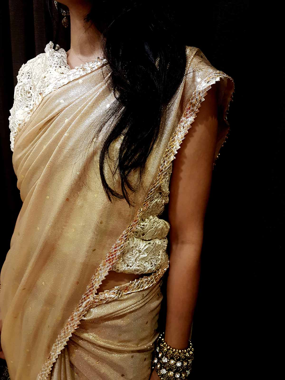Golden Saree with original Silver polished Lace paired up with a Croshia Woven Blouse