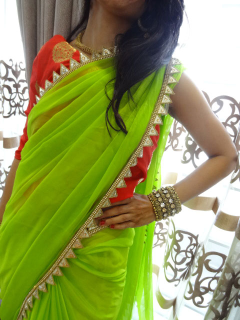Chiffon Saree with Stone and Gota Patthi Cut Work Border paired up with  Banarasi Brocade Blouse